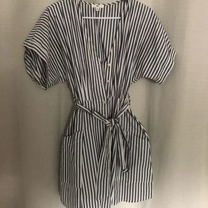 Button Up Casual Striped tie waist dress